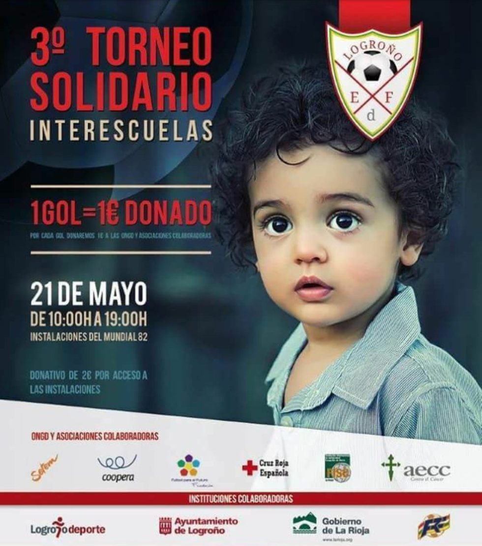Cooperates in the Interschool Football Tournament Goal Solidario. Cartel activity with the image of a child.